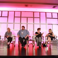 """Pact U.S.'s David Lyle moderates the """"Formats: What's Working Where, and Why?"""" panel, featuring FremantleMedia's Vasha Wallace; Red Arrow's Michael Schmidt; A+E Networks' Hayley Babcock; Twofour's Melanie Leach; and Banijay Group's Grant Ross"""