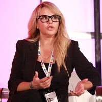 """Katy Wallin, CEO of MysticArt Pictures, on the """"Happy Together - The Secret to Success in Ensemble Unscripted"""" panel"""