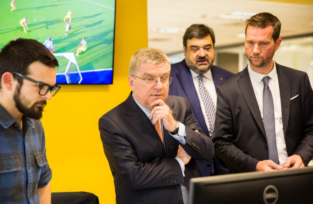 IOC president Thomas Bach visits the channel's Madrid office.