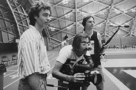 Steve James, Peter Gilbert and Fred Marx filming Hoop Dreams.