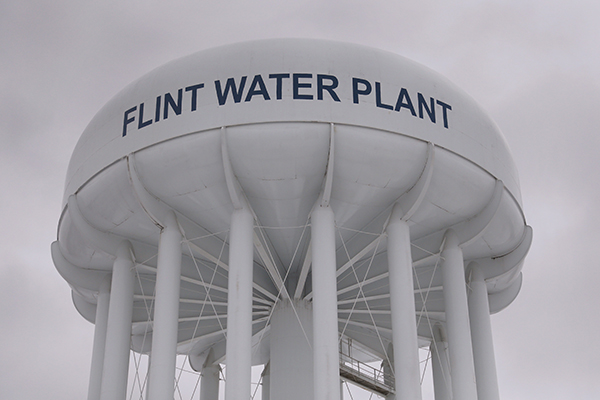 The top of a water tower is seen at the Flint Water Plant in Flint, Michigan