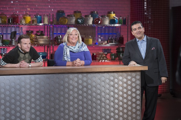 Host Buddy Valastro with Judges Zac Young and Nancy Fuller on Bakers vs. Fakers small