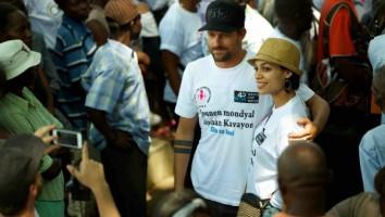 Jon Rose and Rosario Dawson on world water day in haiti - 2014