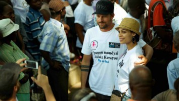 Jon Rose and Rosario Dawson on world water day in haiti - 2014