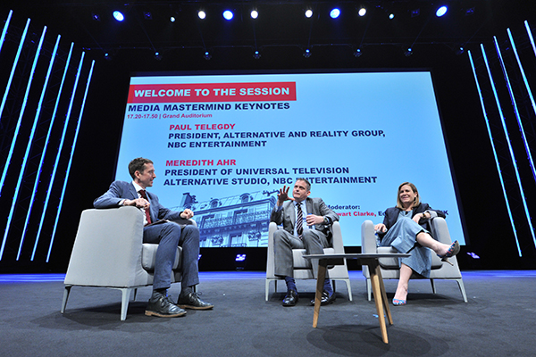 miptv 2017 - conferences - media mastermind keynotes - paul telegdy / nbc entertainment - meredith ahr / nbc entertainment