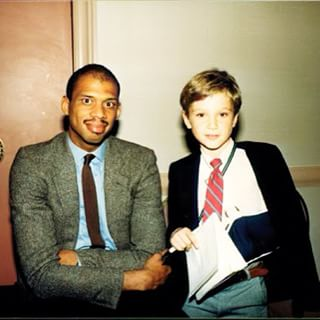 A younger Eli (left) with Kareem Abdul Jabbar