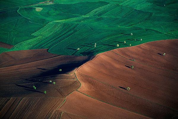 Paysage agricole bicolore entre Ankara et Hattousa, Anatolie, Tu