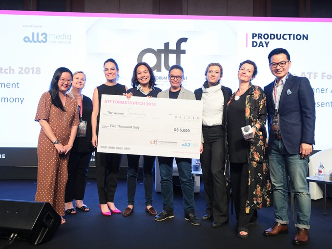 Mai Fernandez and Yin Tan (middle) at ATF Formats Pitch prize presentation ceremony