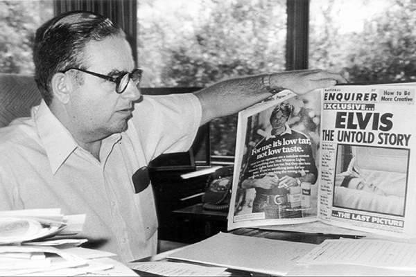 Apr 05, 1978 - Boca Raton, Florida, U.S. - National Enquirer Publisher Generoso Pope oand copy of the photo of Elvis Presley. Pope died at 61, GENEROSO P. POPE JR., the millionaire owner and publisher of The National Enquirer, suffered a heart attack yest