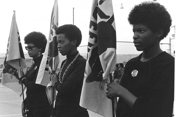#1 women drilling with panther flags
